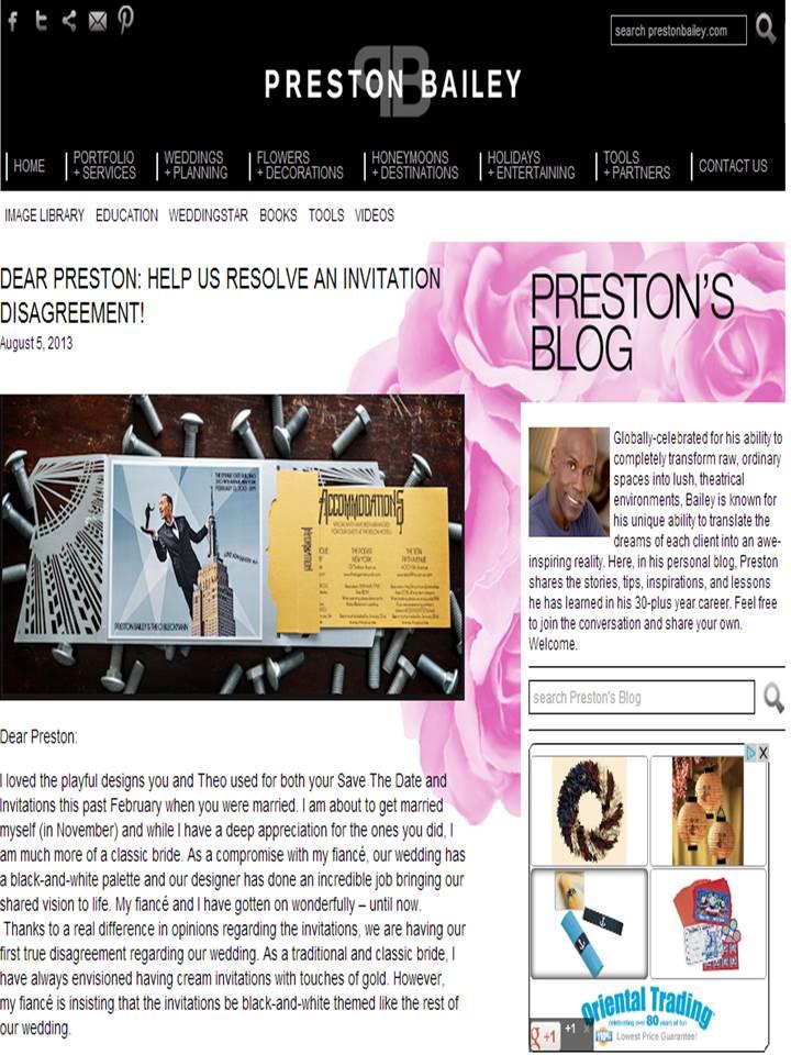 Gourmet Invitations Design Wedding Invites for Preston Bailey Rayce PR