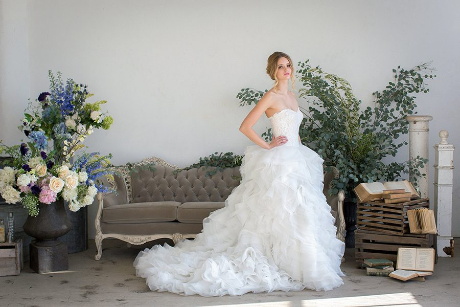Leena A Line With Corset Top And Ruffled Skirt It S Ideal For Grand Ballroom Wedding La Boutique Only