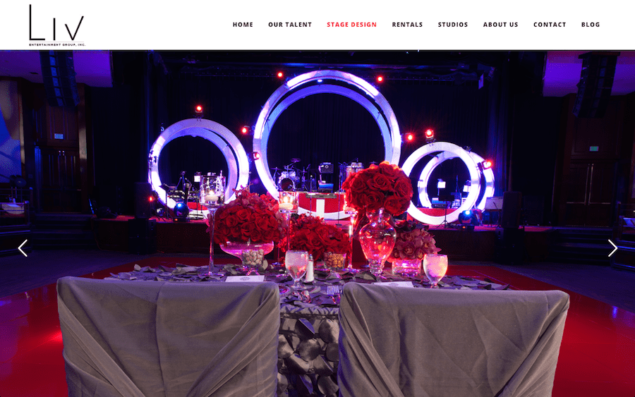 LIV, New Website, Entertianment Group, LIV Entertainment Group, Stage Design, Website
