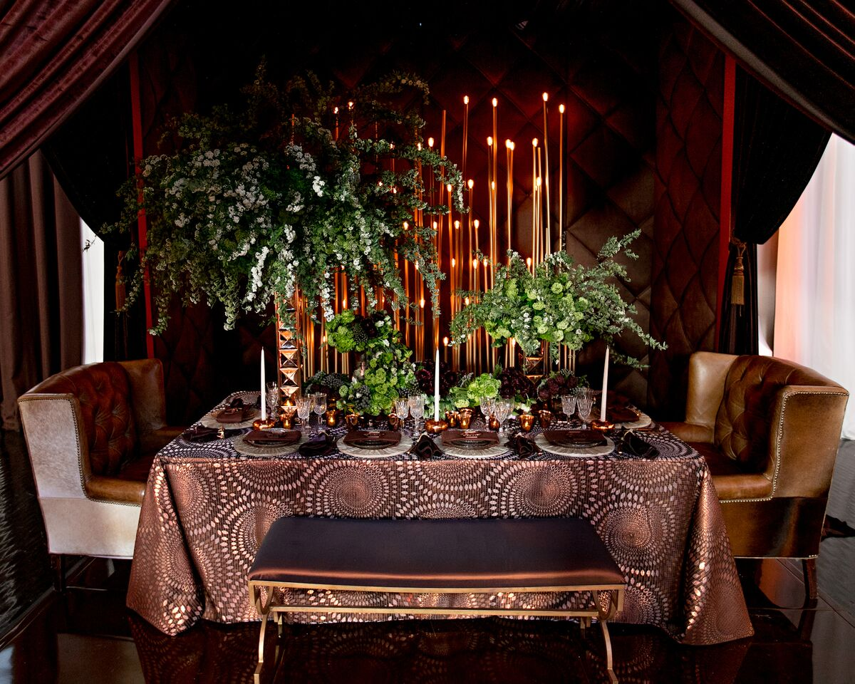 table design, vignette, gold and brown wedding