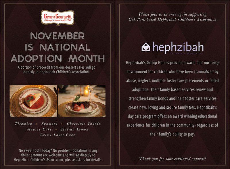 national adoption month, gene & georgetti, chicago steakhiuse, hephzibah, adoption